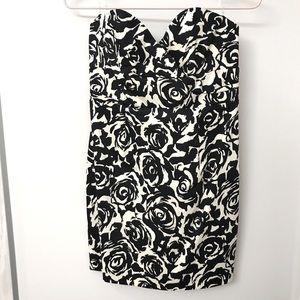 Black & White Floral Sweetheart Strapless Dress